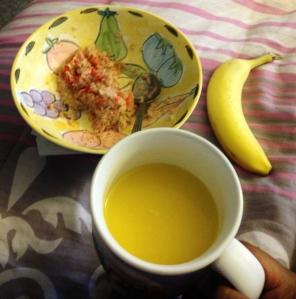 Oatmeal,Orange Juice and a piece of fruit