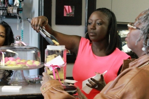 Kristal, Owner of Sookie's Sweets, a homemade sweets company services a cusstomer