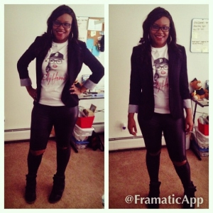 """Intuitive MiMi rocking Fly Heroine's  """"If Marilyn was a 'D' Girl tee"""" with feaux leather leggings, a black blazer and black sneaker wedges"""